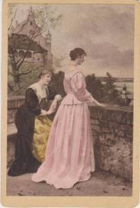 Blond Woman Consoling Brunette in Pink Gown in Courtyard near Castle, 1900-1910s