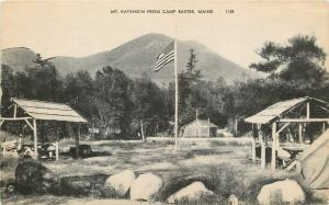Camp Baxter Maine~Picnic Shelters~American Flag~Mt Katahdin~1940s Sepia Litho