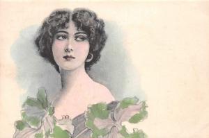 Vintage Fashion Lady Woman, Hairstyle, Illustration Postcard