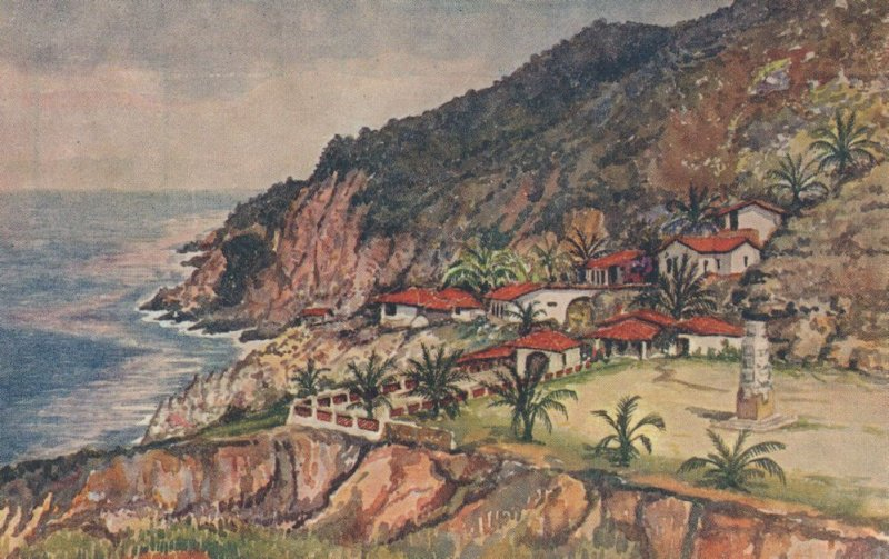 La Quebrada Mexico Vintage Painting Mexican Art Postcard