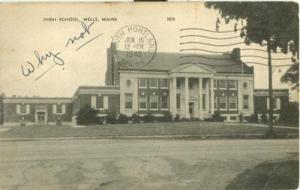 High School, Wells, Maine 1948 used Postcard