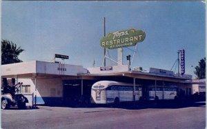 INDIO, CA   GREYHOUND BUS DEPOT & TOPS Restaurant  c1950s Roadside  Postcard