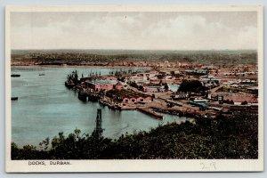 Durban South Africa~Birdseye Panorama~Shipping Docks~City Skyline~1920s Postcard