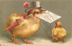 Easter chromo postcard humanized chicks hat umbrella light vertical bending