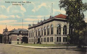 GALESBURG, Illinois, 1900-1910's; Public Library And Post Office