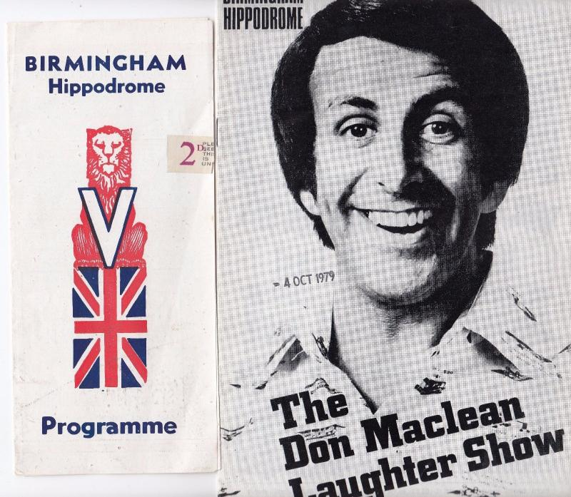 Don Maclean The Laughter Show Birmingham Hippodrome & WW2 Theatre Programme