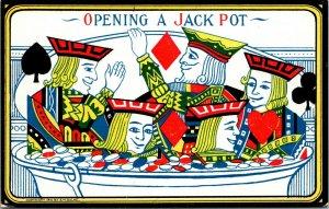 S.M. Salke Triplets Comic Playing Card Style Postcard - JACKPOT - RARE