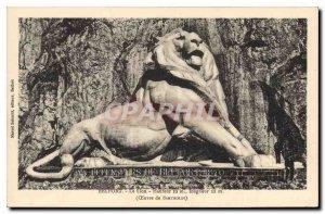 Postcard Old Belfort Lion Work of Bartholdi
