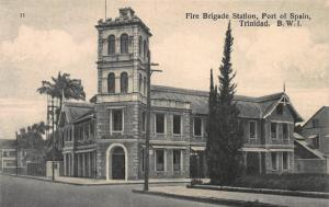 Fire Brigade Station, Port of Spain, Trinidad, B.W.I., Early Postcard, Unused
