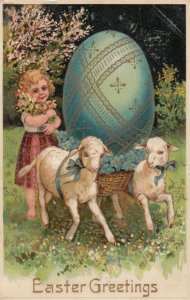 EASTER, 1900-10s; Girl holding flowers, Sheep pulling basket with egg, PFB 8485