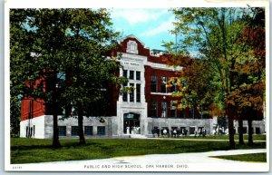 Oak Harbor, Ohio Postcard PUBLIC AND HIGH SCHOOL Building View c1930s Unused