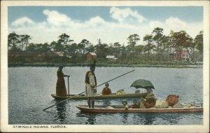 Seminole Native Indians Boating in Florida c1920 Postcard