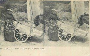 Postcard Stereographic image life scene marche cart