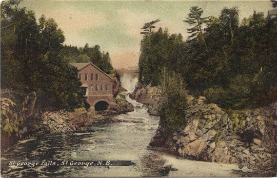 St George Falls New Brunswick Scenic Dam Vintage Postcard private post card
