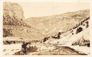 LP77  Yellowstone Highway Nino River Canyon Wyoming  RPPC Postcard