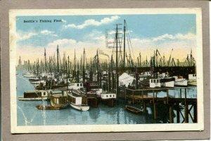 Postcard WA Seattle Fishing Fleet Boats Dock Water c1920 2653N