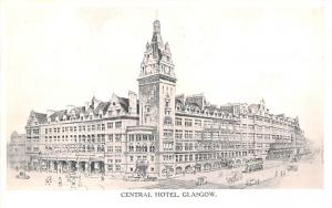 Scotland, UK Old Vintage Antique Post Card Central Hotel Glasgow Writing on back