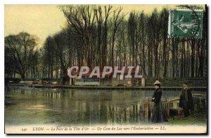 Old Postcard Lyon Parc de la Tete Or A Corner of the Lake to the Embarcadere