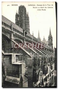 Old Postcard Rouen Cathedral Summit Butter Tower and Detail galleries North C...