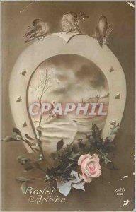 Old Postcard Bonne Annee Horseshoe