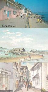 Lyme Regis Dorset Shops Promenade 3x Painting Postcard s
