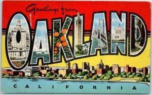 Vintage OAKLAND Calif. Large Letter Postcard Skyline Background KROPP Linen 1944