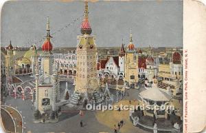 Amusement Park Postcard Post Card Court of Fountains, Luna Park Coney Island,...