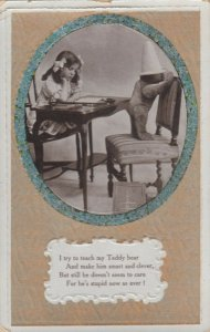 RP; Girl reading, Teddy Bear wearing Dunce hat in chair, PU-1910