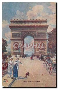 Old Postcard Paris Arc de Triomphe