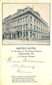 Portland ME Smith's Hotel Congress Street in 1907 Postcard
