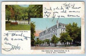1908 HAMILTON HOTEL*WASHINGTON DC*IRVING O BALL PROPRIETOR*FRANKLIN PARK*TO YMCA
