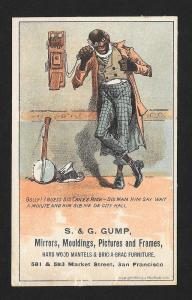 VICTORIAN TRADE CARD Gump Mirrors Black Man Phone Banjo