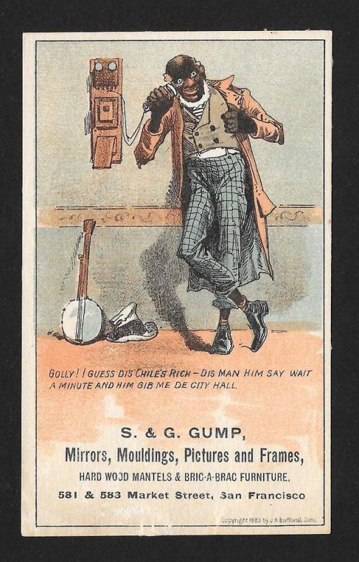 VICTORIAN TRADE CARD Gump Mirrors Black Man Phone Banjo