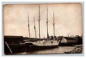 Vintage 1900's Photo Postcard Old Wharf Salem Massachusetts 4 Mast Ship