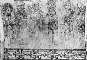 Romanische Kirche Spiez Apostelfries im Chor Apostel Thomas Church