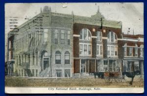 Holdrege Nebraska ne City National Bank 1908 old postcard