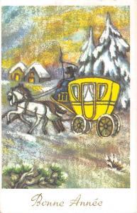Bonne Annee carriage coach winter snowy scene, New Year