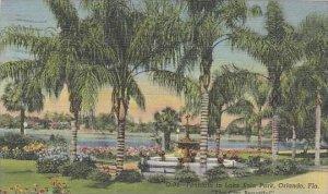 Florida Orlando Fountain In Lake Eola Park The City Beautiful