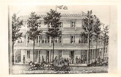 RPPC ST. GEORGE HOTEL Volcano, CA in 1870s Stagecoach c1950s Vintage Postcard