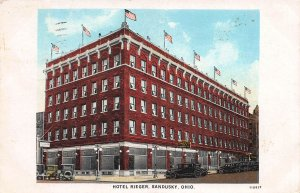 Hotel Rieger, Sandusky, Ohio, Early Postcard, Used in 1930