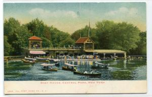 Boat House Central Park New York City NYC New York 1907c postcard