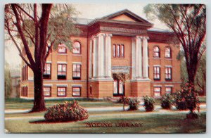 Moline Illinois~Public Library~Large Columns @ Entrance~1910 Postcard