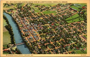 WILLAMETTE RIVER CORVALLIS OR - VINTAGE - OREGON LINEN - POSTCARD