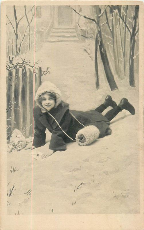 Winter fantasy girl felt snow ice accident letter flowers vintage postcard
