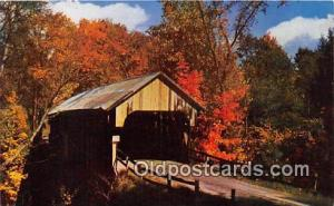 Covered Bridge Vintage Postcard New England Covered Bridge Writing on back