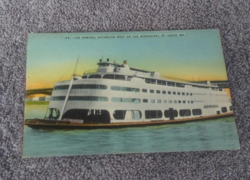 Postcard Mo St Louis The Admiral Excursion Boat on the Mississippi River