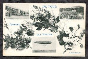 dc141 - FRANCE Toul 1910s Bridge, Dirigible. Fancy Flower Design