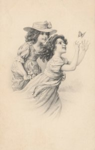 AS; M.M. VIENNE; Two young girls chasing a butterfly, 1900-10s