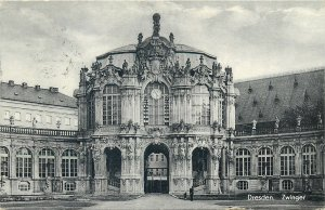 Postcard Germany Dresden zwinger architecture tower clock statue gate windwos