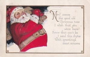 CHRISTMAS, PU-1930; Santa Claus carrying big brown bag over shoulder, Rhyme